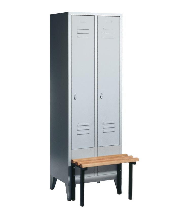 garderobenschrank spind mit vorgebauter sitzbank 2 abteile abteilbreite 300mm ebay. Black Bedroom Furniture Sets. Home Design Ideas