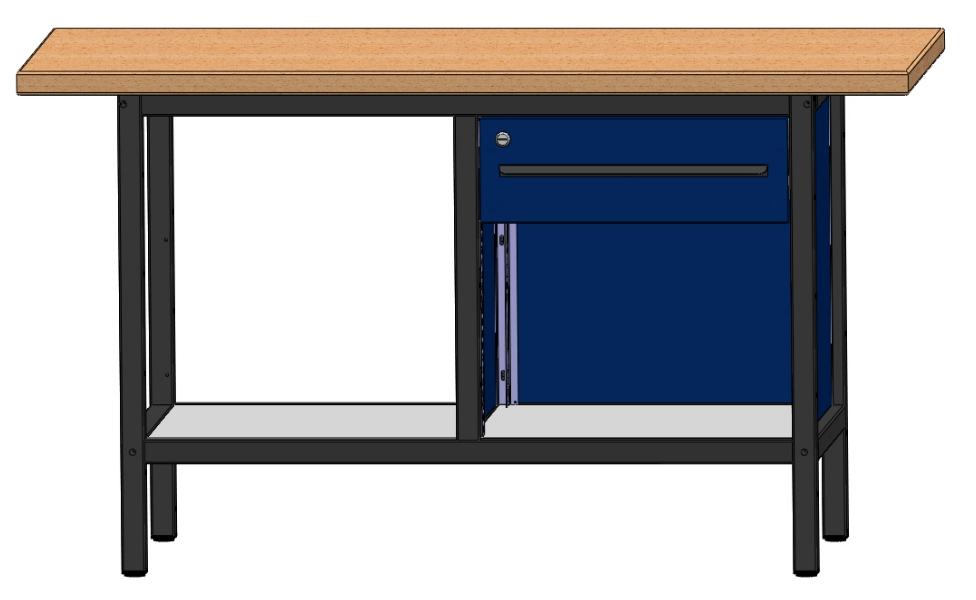 arbeitstisch werkbank werktisch mit 1 schublade u 2 ablageb den l nge 1500 mm ebay. Black Bedroom Furniture Sets. Home Design Ideas
