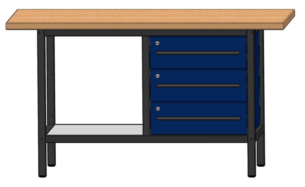 arbeitstisch werkbank werktisch mit 3 schubladen u 1 ablageboden l nge 1500mm ebay. Black Bedroom Furniture Sets. Home Design Ideas