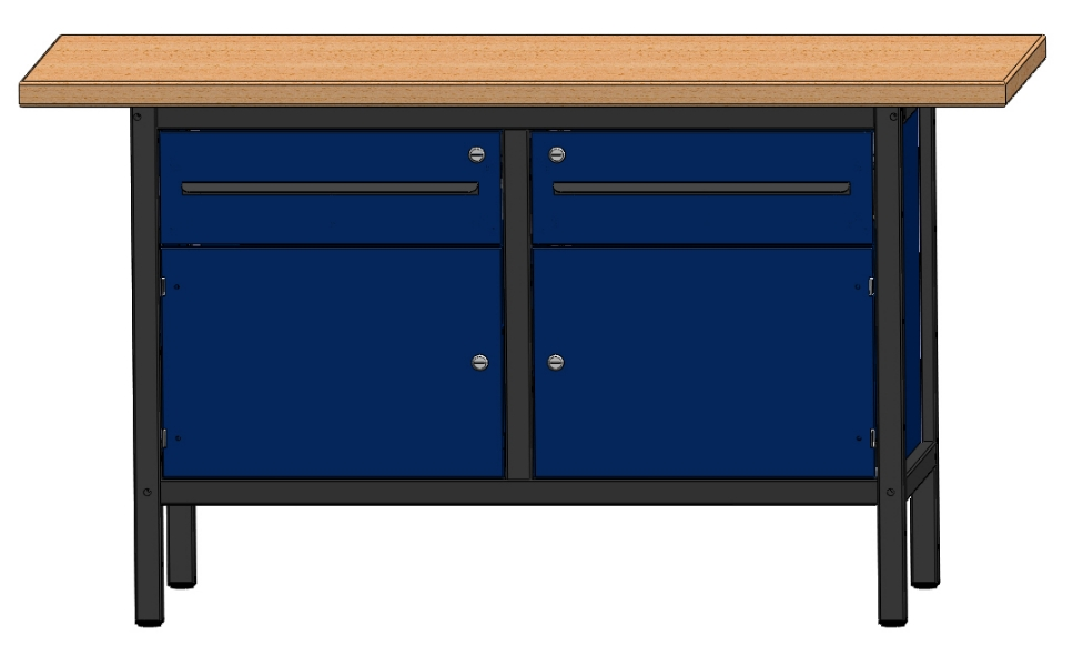 arbeitstisch werkbank werktisch mit 2 schubladen und 2 t ren l nge 1500 mm ebay. Black Bedroom Furniture Sets. Home Design Ideas