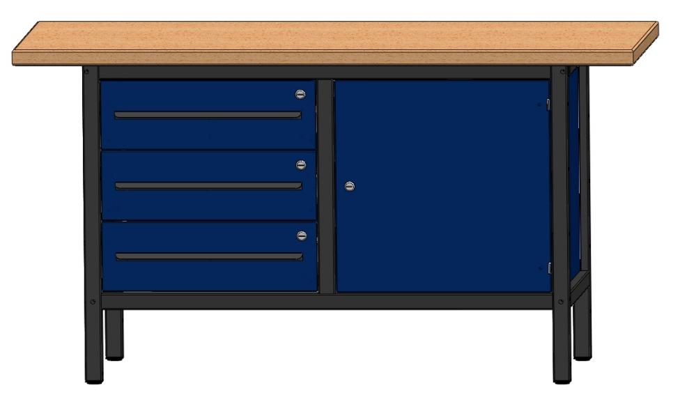 arbeitstisch werkbank werktisch mit 3 schubladen und 1 t r l nge 1500 mm. Black Bedroom Furniture Sets. Home Design Ideas
