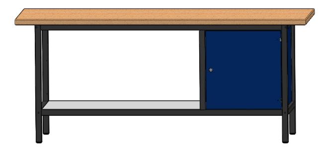 arbeitstisch werkbank werktisch mit 1 t r und 1 ablageboden l nge 2000 mm ebay. Black Bedroom Furniture Sets. Home Design Ideas