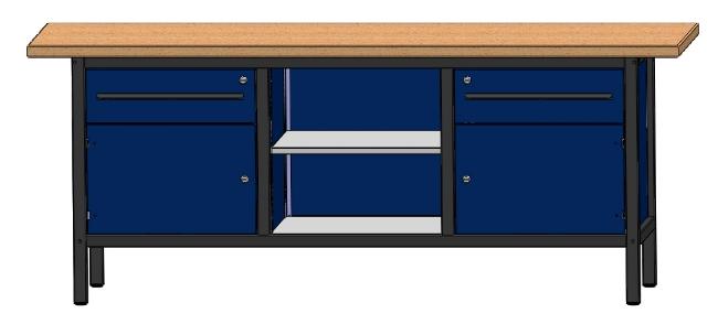 arbeitstisch werkbank werktisch mit 2 schubladen 2 t ren 2 b den l nge 2000mm ebay. Black Bedroom Furniture Sets. Home Design Ideas