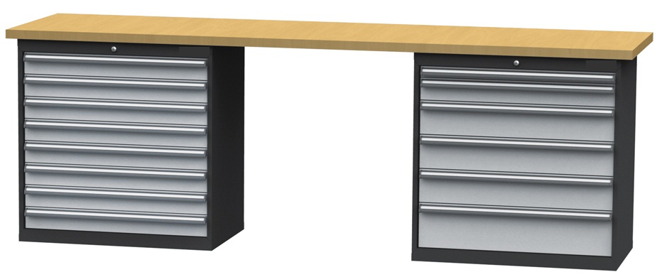 werkbank werktisch mit 14 schubladen 2500x600x960mm schubladenbreite 800mm ebay. Black Bedroom Furniture Sets. Home Design Ideas