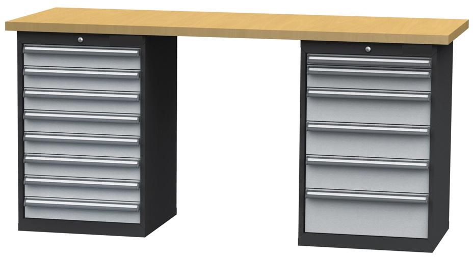 werkbank werktisch mit 14 schubladen 2000x600x960mm schubladenbreite 500mm ebay. Black Bedroom Furniture Sets. Home Design Ideas